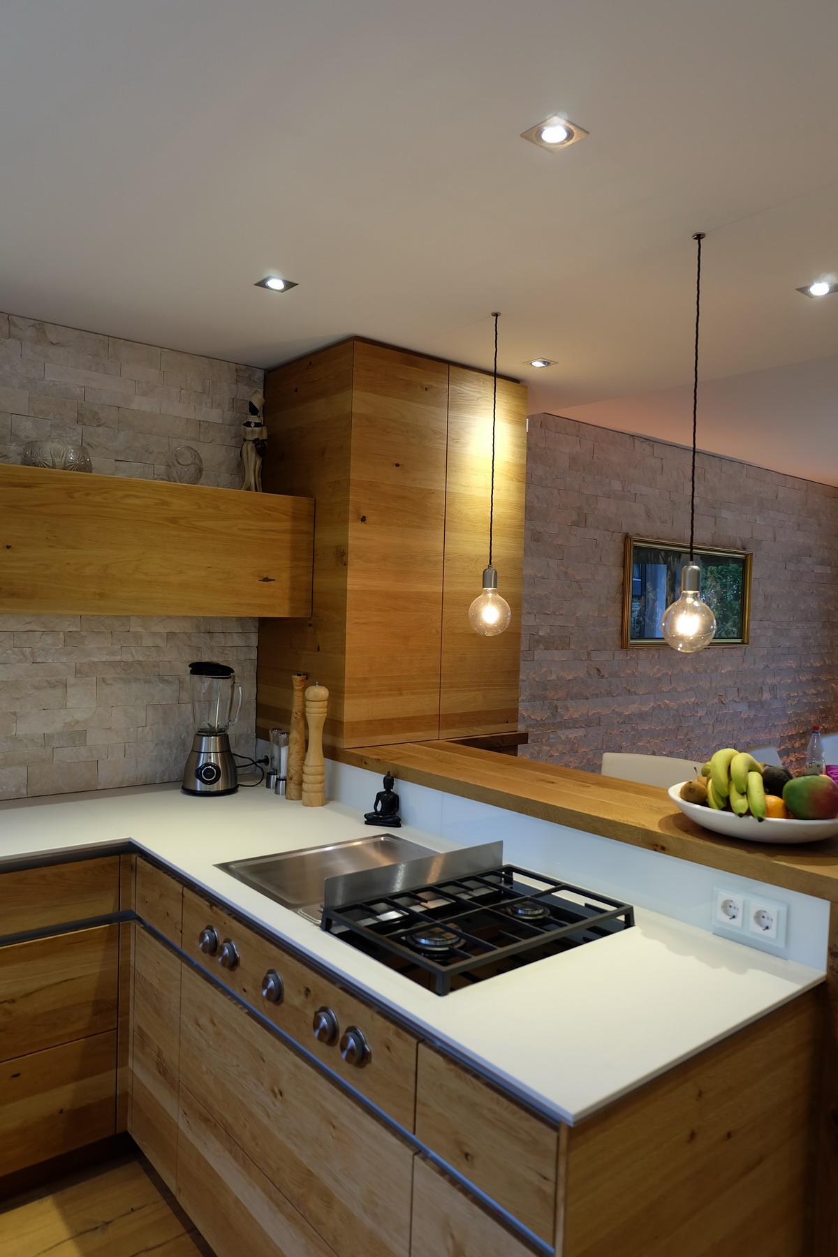 Küche Eiche Stein weiß 1